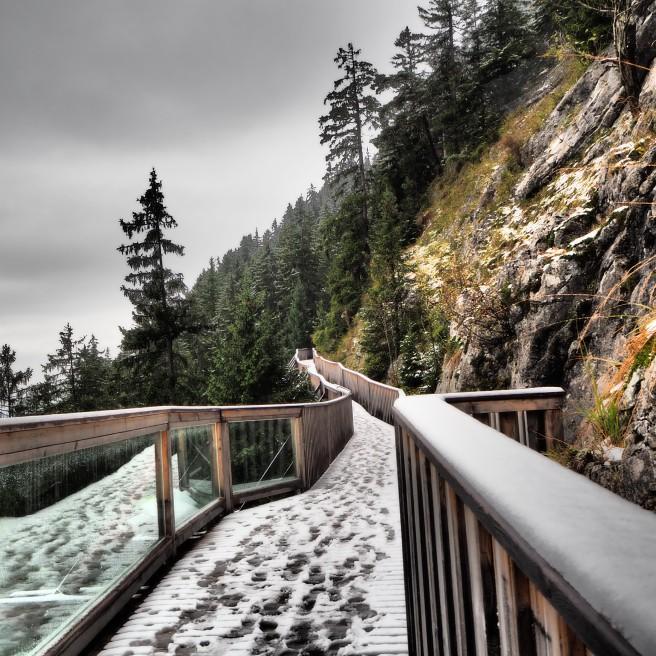 A snow kissed bridge in the Alps